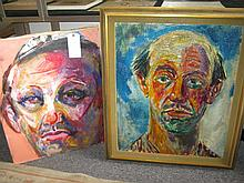 Pascal Cucaro, (1915-2004), Two portraits of men, oil paintings on canvas,