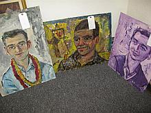 Pascal Cucaro, (1915-2004), Three portraits of men, oil paintings on masonite, various sizes