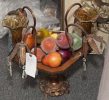 Fruit bowl glass and metal table lamp