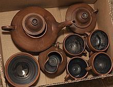 Japanese earthenware tea set, mat brown glaze with polished black interior, service for 6