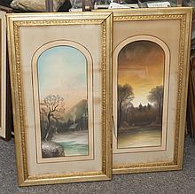 American School, late 19th -early 20th century, pair of pastel landscapes, gilt-framed.