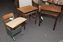 Three pieces: two child's school desk and short lectern