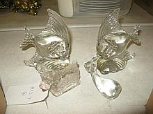 Four glass table ornaments: pair of fish, dog and dolphin