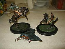 Three Austrian style cold painted bronze sculptures