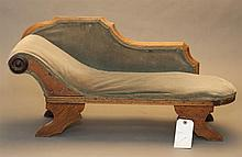 Vintage doll's chaise lounge, olive green velvet upholstery, 14 x 30 x 11 inches