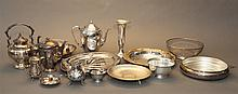 Large collection of assorted plated silver articles including trays, bowls, jugs, teapots and coffee pots