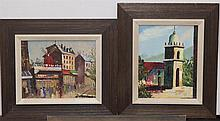 Two oil on canvas paintings depicting a street scene and a Spanish church
