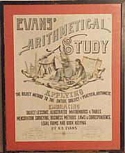 Evans' Arthmetical Study advertisement, matted and framed