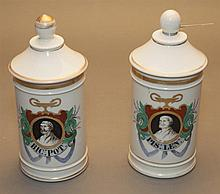 Pair of porcelain apothecary jars with covers, painted shields with portraits of wise men, height 9 1/2 in