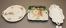 Three Continental porcelain cookie and bread trays