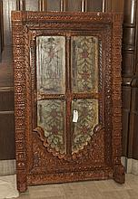 Large rectangular carved wooden Mexican mirror, painted hinged doors with floral design