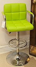 Green upholstered and chrome adjustable open arm stool