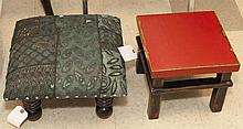 Two pieces: Asian short stool and an upholstered ottoman,