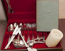 Stainless flatware set with case