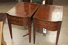 Pair of mahogany two drawer leather top end tables