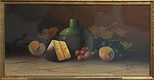 American school, still life of wine and cheese, framed