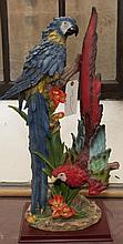 Statue depicting two parrots