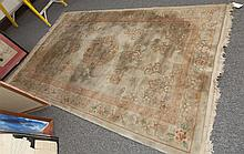 Handwoven Chinese sculpted carpet with floral design and Greek Key pattern