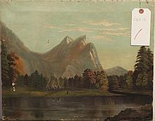 Vanmeter, American 20th Century, Mountain landscape with teepees, oil on canvas,