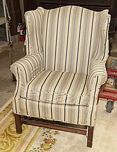Chippendale Style Upholstered Wing-back Armchair on Marlborough Legs