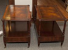 Pair of leather topped end tables with casters