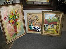 Group of three paintings, Still life by E