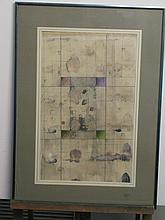Abstract pencil and watercolor composition, signed on mat lower right, framed