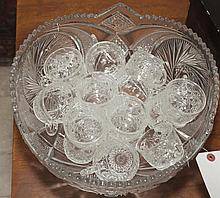 Pressed glass punch set, bowl and cups