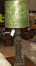 Pair of carved wooden Chinese table lamps depicting full standing figures