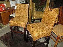 Pair of tall rush bar chairs