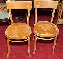 Set of eight wooden Thonet style cafe chairs