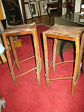 Pair of natural form wooden tall side tables