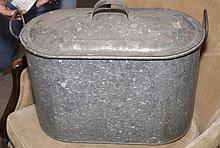Galvanized metal lidded handed ice bucket