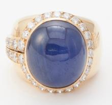 Sapphire, diamond, and gold cocktail ring