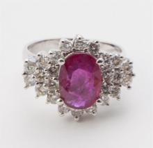 Ruby, diamond, and gold cocktail ring
