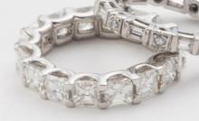 Asscher diamond and platinum eternity band