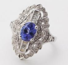 Tanzanite, diamond, and gold cocktail ring