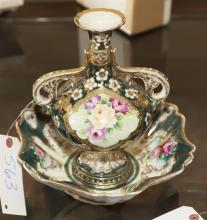 Two porcelain pieces, double handled vase and matching bowl both with applied gilt decoration
