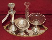 Bric-a-brac including weighted sterling candlestick, mirrored tray, and more