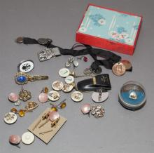 Collection of men's vintage costume jewelry and gold filled mother pearl dress set
