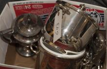 Two boxes of assorted plated silver including flatware, ice buckets, tea pot, and more
