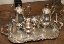 Five piece plated silver tea service