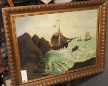 Brodziski, Nautical scene with sailors on the shore, oil on board,