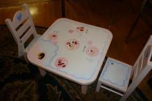 Three piece painted dolls dinette set