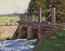 Harry Bush, British (1883-1957), Sketch at Spear, oil on board, 9 x 11 inches