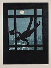 Richard Bosman, American (b. 1944), Falling Figure (title?), woodcut.