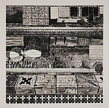 Jennifer Bartlett, American (b. 1941), Air 24 hours, set of three color etchings and drypoint,