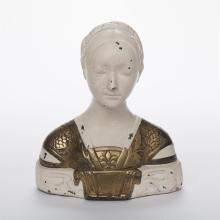 French Cold Painted and Gilt Metal Female Bust