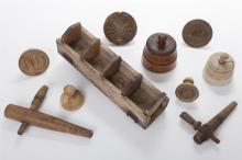 Collection of Vintage Carved Wood Butter Molds and Stamps