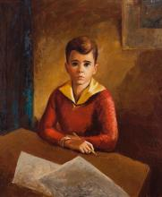 Albert Ernest Backus, American (1906-1991), Portrait of a boy, 1937, oil on canvas, 30 1/4 x 25 1/4 inches